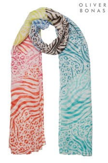 Oliver Bonas Blue Bright Animal Gradient Lightweight Scarf