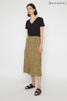 Warehouse Natural Leopard Print Midi Skirt