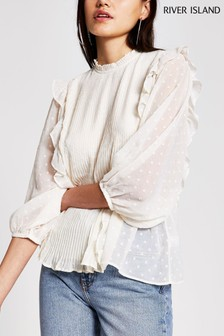River Island Cream Pleated Frill Front Top