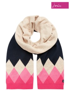 Joules Blue Rothley Scarf Argyle Knitted Scarf