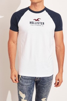 Hollister White Raglan Short Sleeve T-Shirt