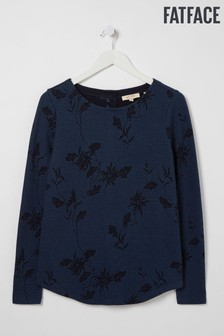 FatFace Blue Button Back Tonal Floral Top