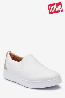 FitFlop™ White Sania Exotic Leather Slip-On Skate Shoes