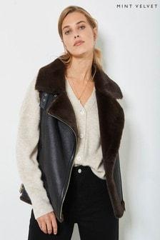 Mint Velvet Black Faux Leather & Fur Gilet