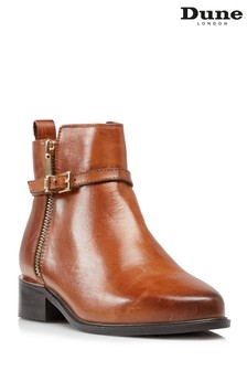 Dune London Pop Tan Buckled Ankle Boots