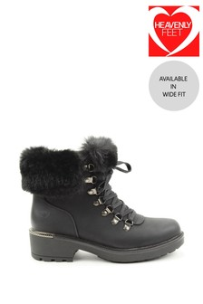 Heavenly Feet Black Ladies Lace-Up Ankle Boots