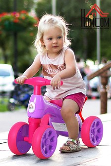 Pink & Purple Kids 4-Wheel Balance Bike By HOMCOM