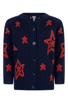 Baby Girls Navy Wool Knitted Stars Cardigan