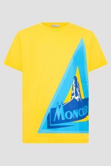 Moncler Enfant Boys Yellow Cotton Logo T-Shirt