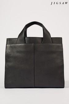 Jigsaw Black Roscoe Leather Work Bag
