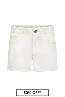 Chloe Kids Girls Cream Cotton Shorts