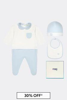 Fendi Kids Baby Boys Blue Cotton Gift Set
