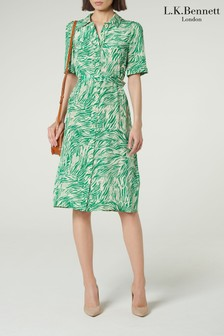 L.K.Bennett Green Irenie Silk Shirt Dress