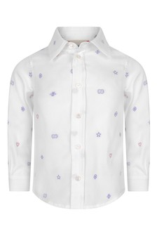 Baby Boys White Cotton Oxford Embroidered Shirt