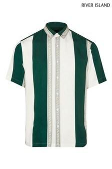 River Island Green Medium Geo Stripe Shirt