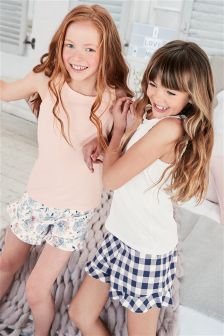 Gingham And Floral Short Pyjamas Two Pack (3-16yrs)