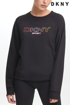 DKNY Black Ombre Logo Sweat Top