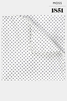 Moss 1851 White/Navy Pin Dot Pocket Square