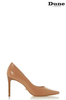 Dune London Caramel Leather Adella Stacked Heel Pointed Court Shoes