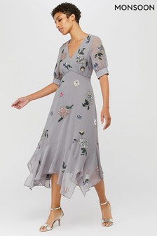 Monsoon Grey Hariette Embellished Hanky Hem Dress