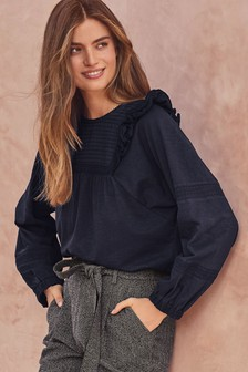 Ruffle Shoulder Long Sleeve Top