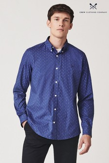 Crew Clothing Blue Deco Flag Print Poplin Slim Shirt