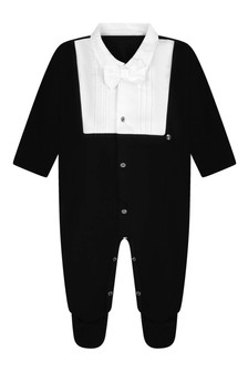 Boys Black Cotton Tuxedo Babygrow