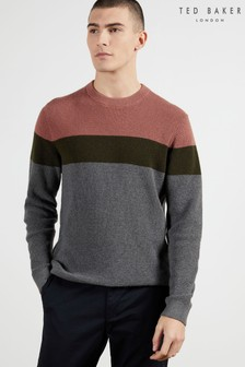 Ted Baker Lastmi Colourblock Textured Crew Neck Jumper