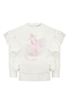 Monnalisa Baby Girls Cream Cotton Girls Sweat Top