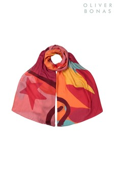 Oliver Bonas Red Hers Colours Lightweight Scarf