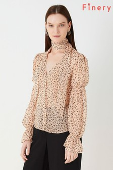 Finery London Nude Maygrove Polka Dot Printed Georgette Top