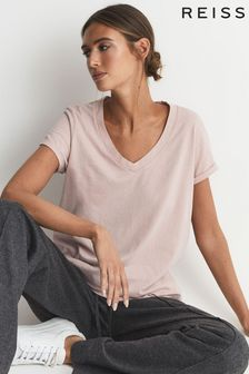 Reiss Luana Cotton Jersey V-Neck T-Shirt