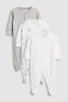GOTS Certified Organic Cotton Watercolour Elephants Sleepsuits Three Pack (0-12mths)