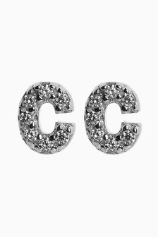Cubic Zirconia Stone Initial Stud Earrings