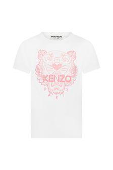 Kenzo Kids Girls White Cotton T-Shirt