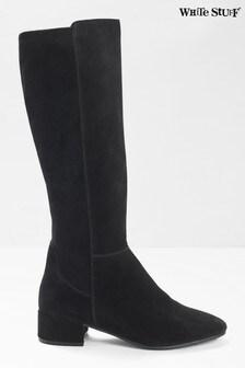 White Stuff Black Eva Elastic Knee Boots