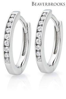 Beaverbrooks 9ct White Gold Diamond Hoop Earrings