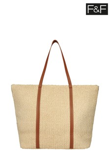 F&F Natural Straw Beach Tote Bag
