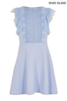 River Island Blue Light Crochet Body Lace Dress