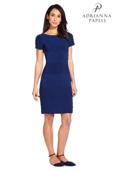 Adrianna Papell Navy Sateen Matte Jersey Sheath Dress