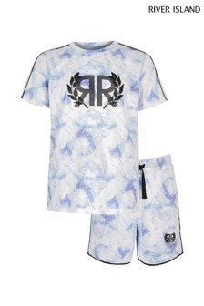 River Island Blue Mesh Tee And Short Set