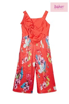 baker by Ted Baker Red Plissé Bow Jumpsuit