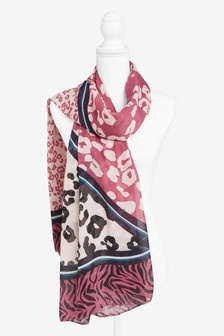 Animal Print Spliced Scarf
