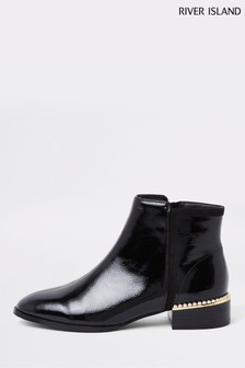 River Island Black Pearl Heel Detail Patent Boots