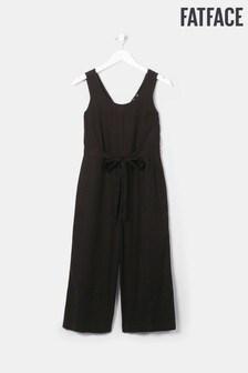 FatFace Black Hannah Linen Blend Jumpsuit