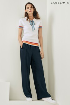 Mix/Kitri Studio Navy Fluid Wide Leg Trouser