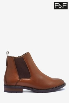 F&F Tan Leather Chelsea Boots