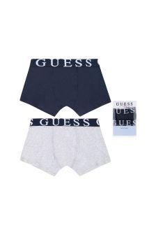 Boys Grey & Blue Cotton Boxer Shorts Set