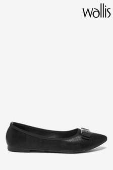Wallis Black Bohemia Square Trim Pointed Ballerinas