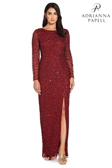 Adrianna Papell Red Beaded Covered Column Gown